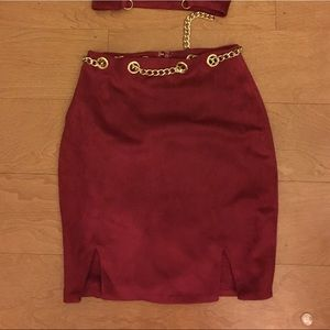 1b84031bcd7 Oh Polly Dresses | Ohpolly Chain Reaction Suede Mini Skirt Two Piece ...